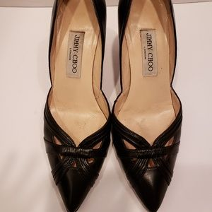Jimmy Choo black leather heels sz 7